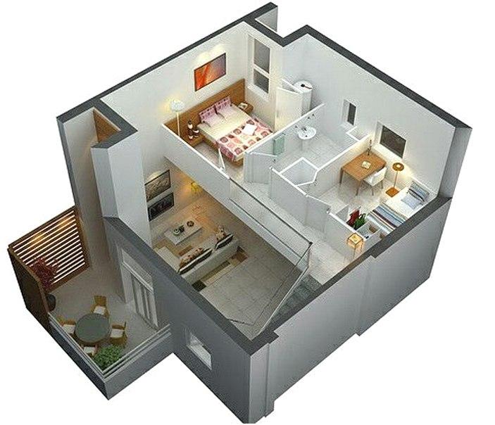 Denah Rumah Sederhana 2 Lantai 2 Kamar Tidur 3D