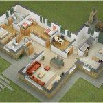Denah Rumah Sederhana 3 Kamar Tidur Besar Kecil Terbaru 3D