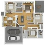 Denah Rumah Sederhana 3 Kamar Tidur Besar Terbaru 3D