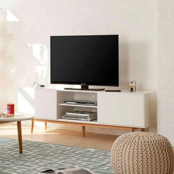 Desain Rak Tv Minimalis Unik Warna Putih Terbaru