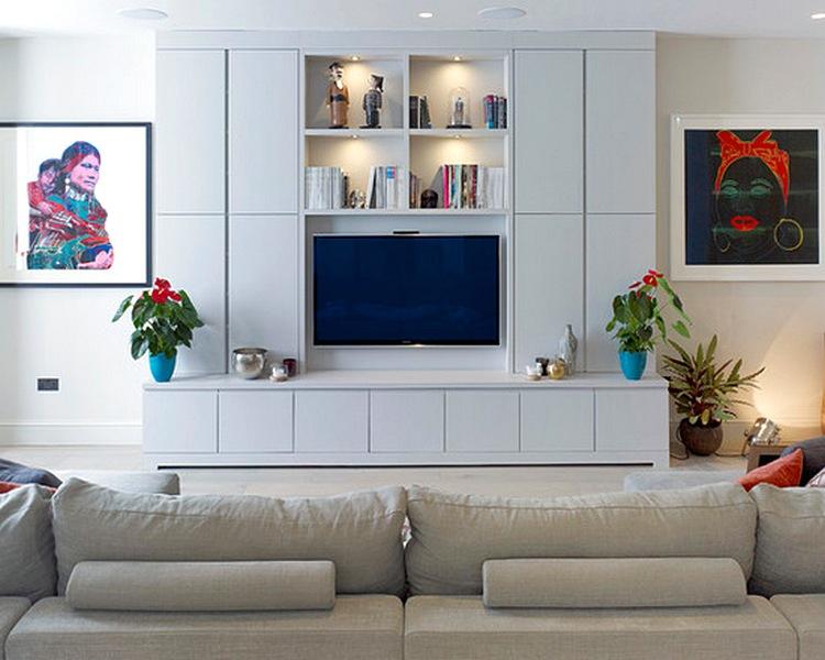 Desain Rak Tv Minimalis Warna Putih Unik Cantik