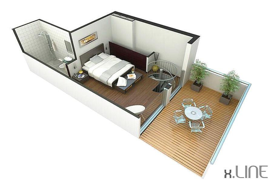 Desain Denah Rumah 1 Kamar Tidur