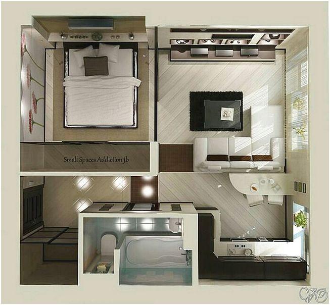 Desain Denah Rumah Minimalis 1 Kamar Tidur 3D