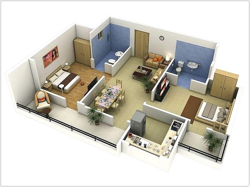 Desain Denah Rumah Minimalist 2 Kamar Tidur Terbaru