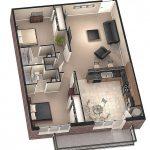Desain Sketsa Denah Rumah Kecil 1 Kamar Tidur Terbaru