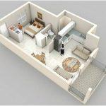 Desain Sketsa Denah Rumah Minimalist 1 Kamar Tidur Besar Terbaru
