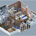 Gambar Denah Rumah Minimalis 1 Kamar Tidur 3D