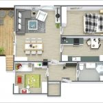 Gambar Denah Rumah Minimalis 2 Kamar Tidur 3D
