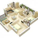Gambar Denah Rumah Minimalis 3 Kamar Tidur 3D