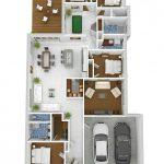 Gambar Denah Rumah Minimalis 4 Kamar Tidur 3D