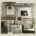 Gambar Denah Rumah Sederhana 1 Kamar Tidur Minimalis 3D