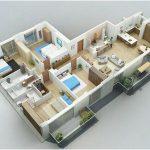 Gambar Sketsa Denah Rumah Minimalis 3 Kamar Tidur 3D