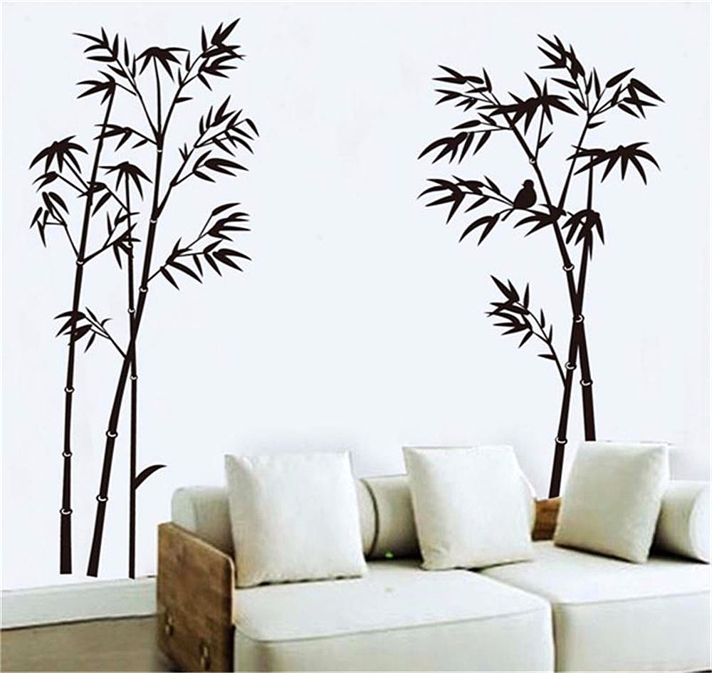 Hiasan Dinding Kamar Dengan Wallpaper Sticker Motif Pohon Bambu