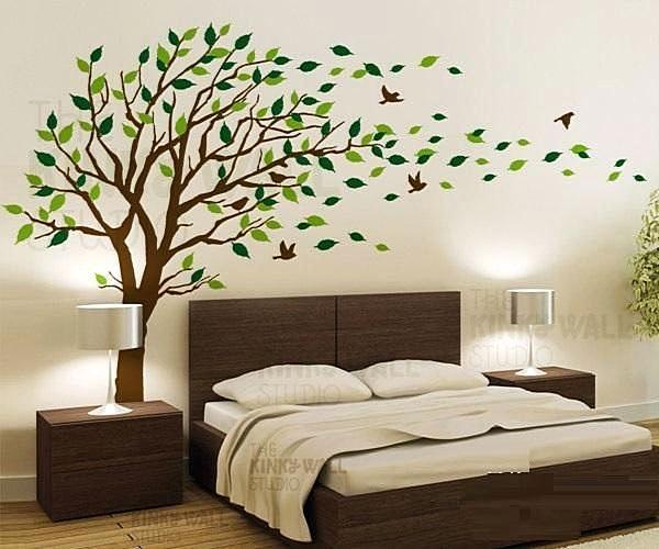 Hiasan Dinding Kamar Dengan Wallpaper Sticker Motif Pohon
