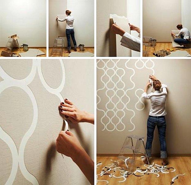 ide dan cara membuat hiasan dinding kamar buatan sendiri dengan wallpaper dinding dekor rumah. Black Bedroom Furniture Sets. Home Design Ideas
