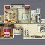 Ide Denah Rumah Sederhana 3 Kamar Tidur Terbaru 3D