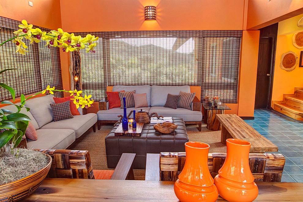 Kombinasi Warna Cat Ruang Tamu Berwarna Orange