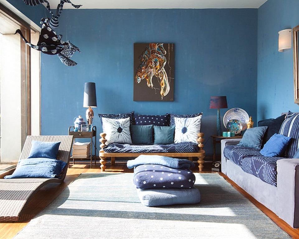 Ruang Tamu Biru  Coklat Desainrumahid com