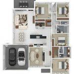 Sketsa Denah Rumah 4 Kamar Tidur 3D