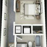 Sketsa Denah Rumah Kecil 1 Kamar Tidur Terbaru 3D