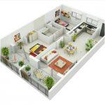 Sketsa Denah Rumah Kecil 2 Kamar Tidur Terbaru 3D