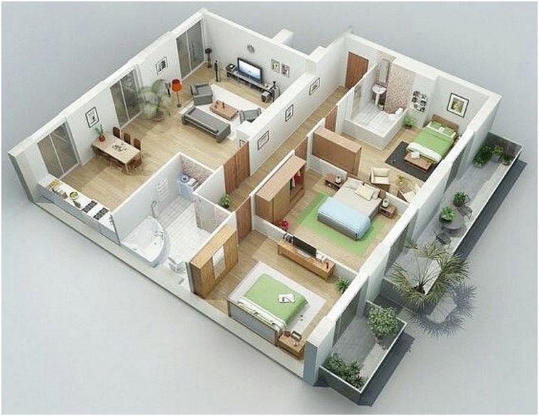 Sketsa Denah Rumah Minimalis 3 Kamar Tidur 3D