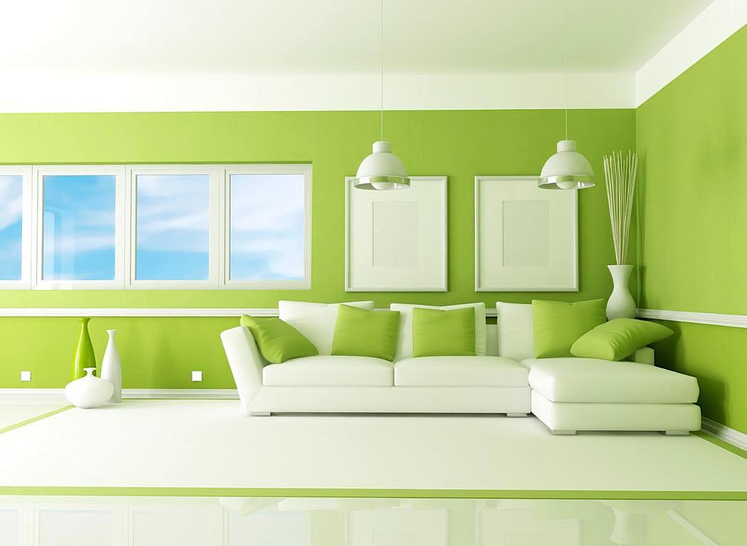 Warna Cat Dinding Ruang Tamu Yang Bagus = Hijau