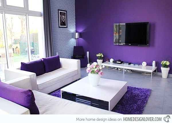 Warna Cat Dinding Ruang Tamu Yang Bagus Ungu