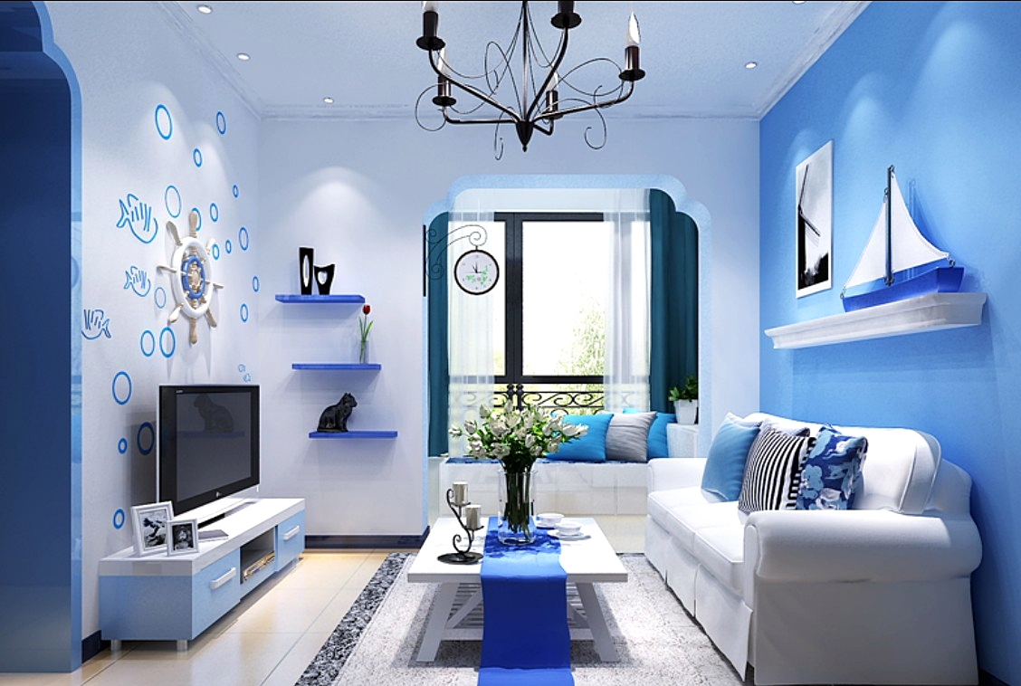 Charming Living Room Decor Blue Brown On Design Ideas With High Warna Cat Tembok Ruang Tamu