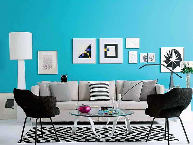 Warna Cat Ruang Tamu Sempit Biru