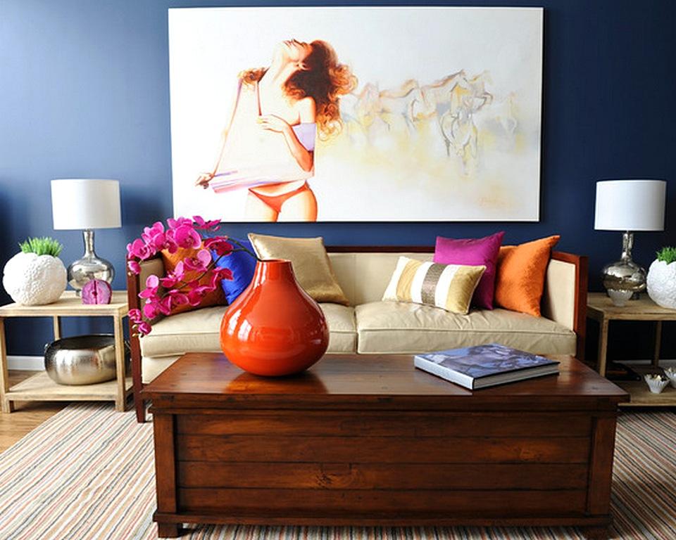 Warna Cat Ruang Tamu Yang Cantik Biru Dongker