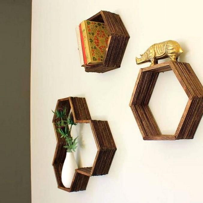 Hiasan Dinding Hexagonal Dari Stik Eskrim Untuk Hiasan Dinding Ruang Tamu
