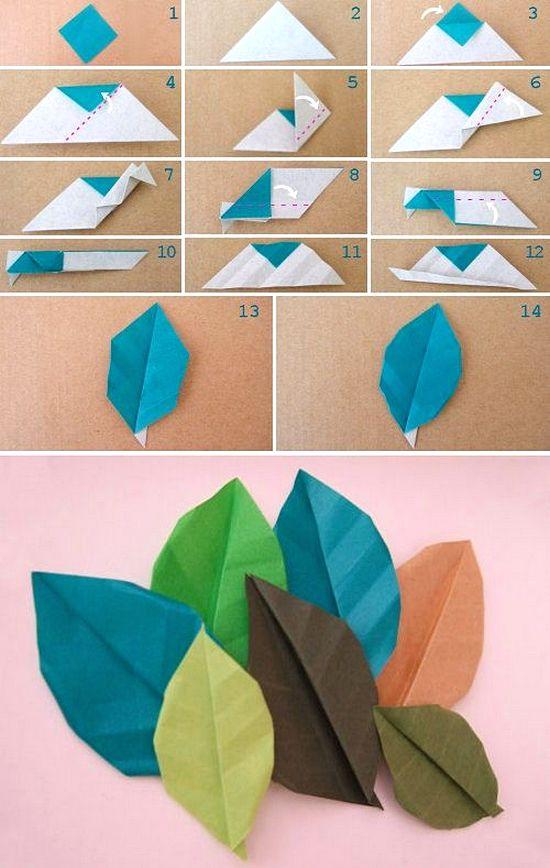 Membuat Hiasan Dinding Dari Kertas Origami Motif Daun