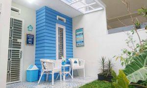 Model Teras Rumah Dengan Warna Cat Teras Rumah Biru Putih