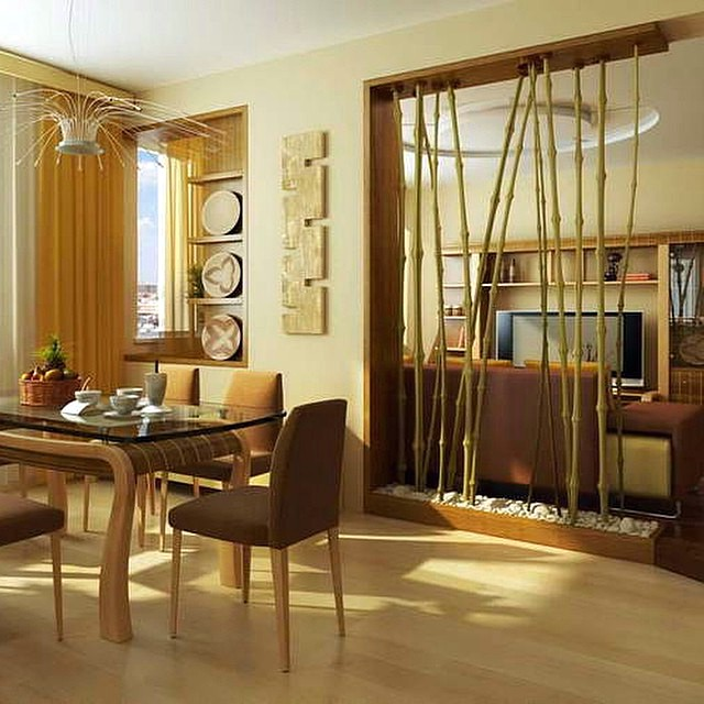 Pembatas Ruangan Tamu Minimalis Bambu