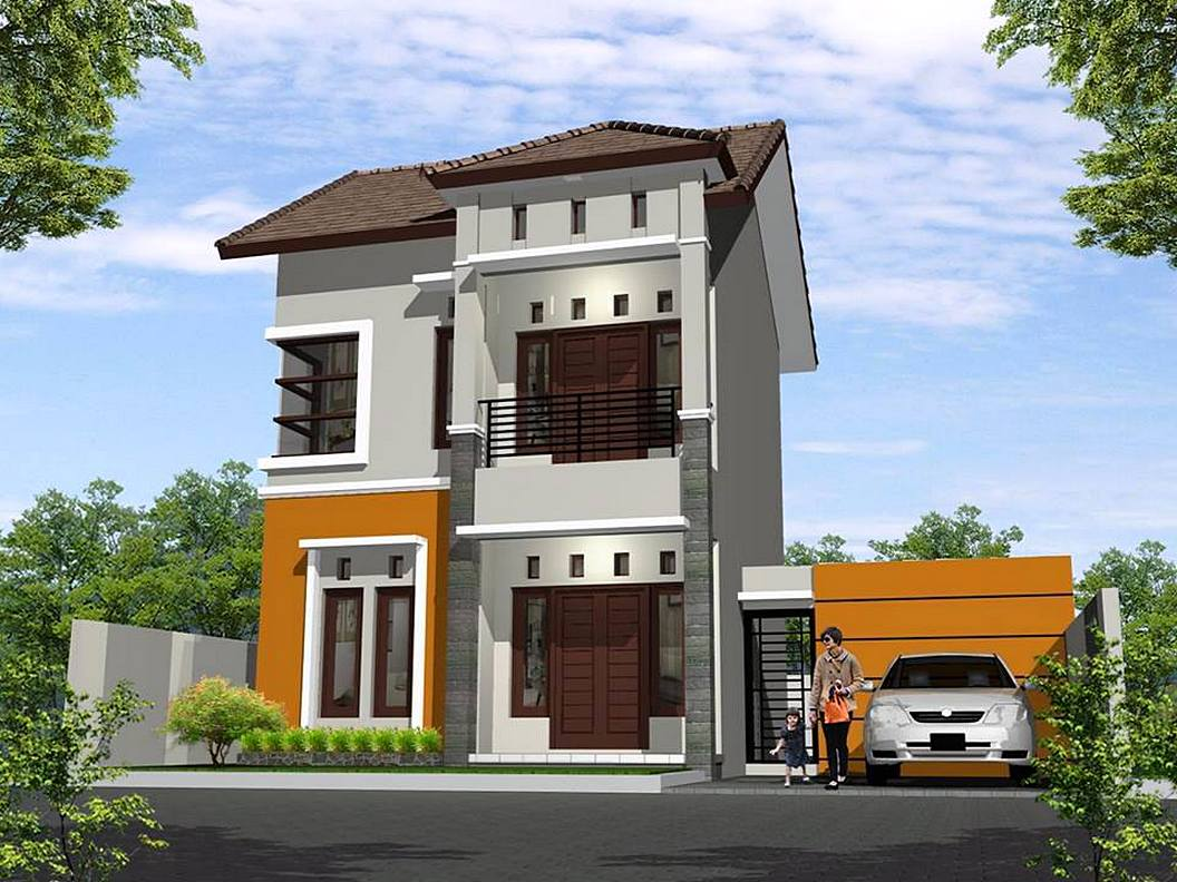 Rumah Minimalis 2 Lantai Sederhana Warna Orange Cokelat