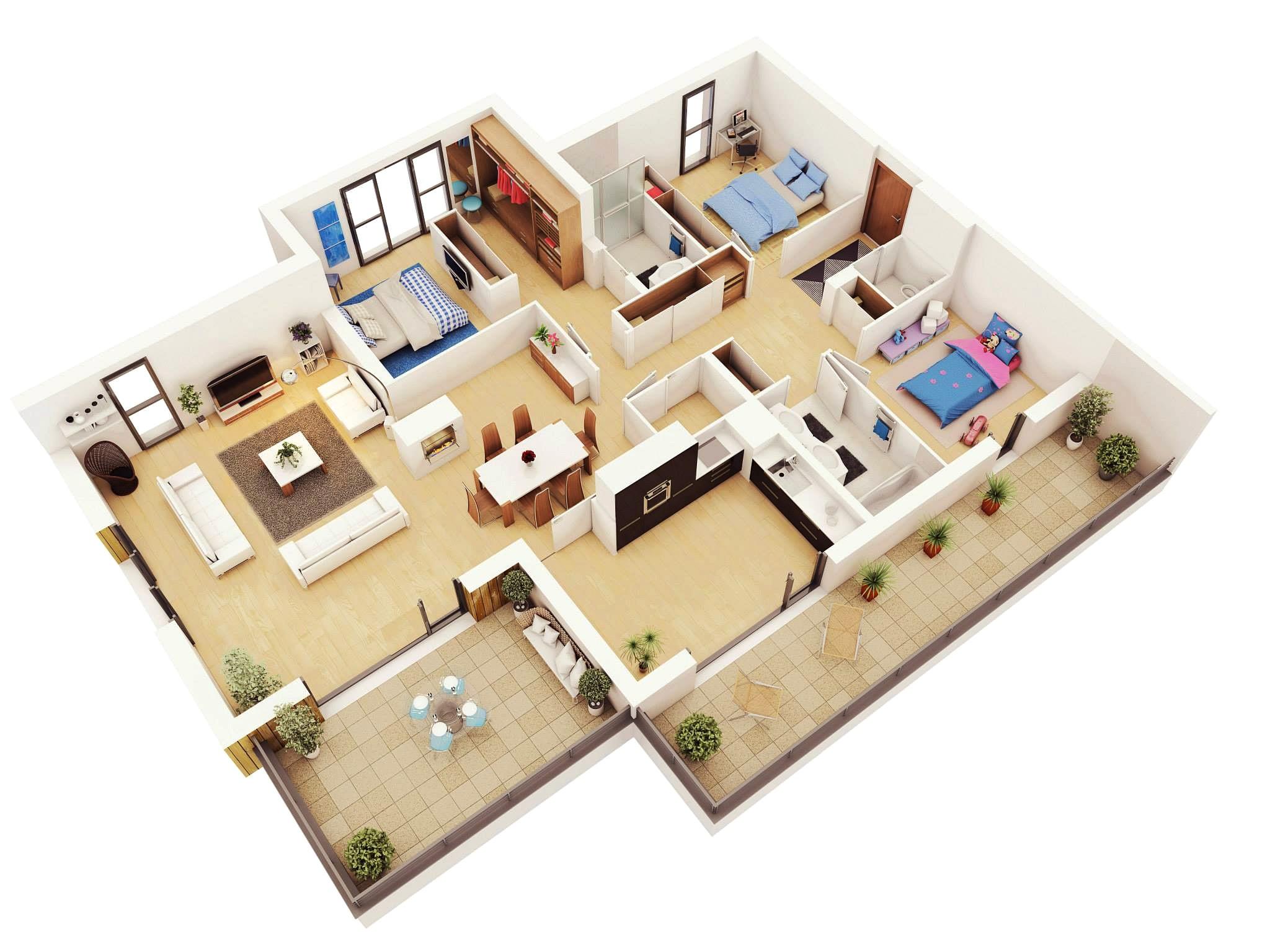 20 denah rumah sederhana 3 kamar tidur 3 dimensi 2017