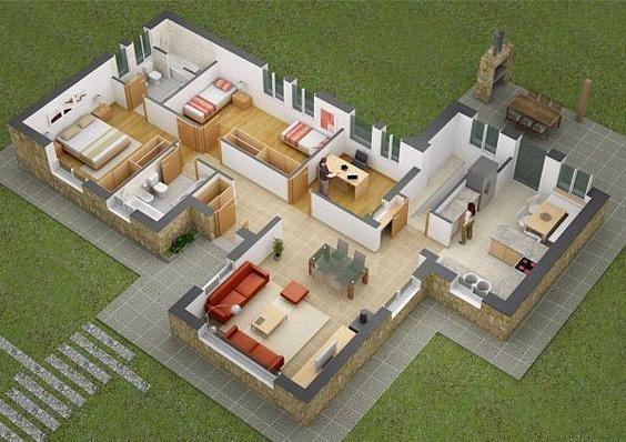 Denah Rumah Mewah 3 Kamar Tidur 3d 3dimensi