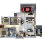 Denah Rumah Minimalis 1 Lantai 3 Kamar Tidur Dan Garasi 3dimensi 3d