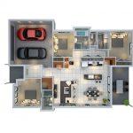 Denah Rumah Minimalis 1 Lantai 3 Kamar Tidur Dan Garasi Denah Rumah 3 Kamar Ukuran 7x9 3dimensi 3d