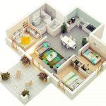 Denah Rumah Sederhana 3 Kamar Tidur 3d 3dimensi Terbaru