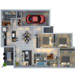 Denah Rumah Sederhana 3 Kamar Tidur Dan Garasi 3dimensi 3d