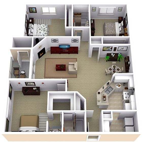 20 denah rumah sederhana 3 kamar tidur 3 dimensi 2018 for Casas modernas de 70m2