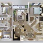 Denah Rumah Sederhana 3 Kamar Tidur Denah Rumah Minimalis Type 45 3dimensi 3d