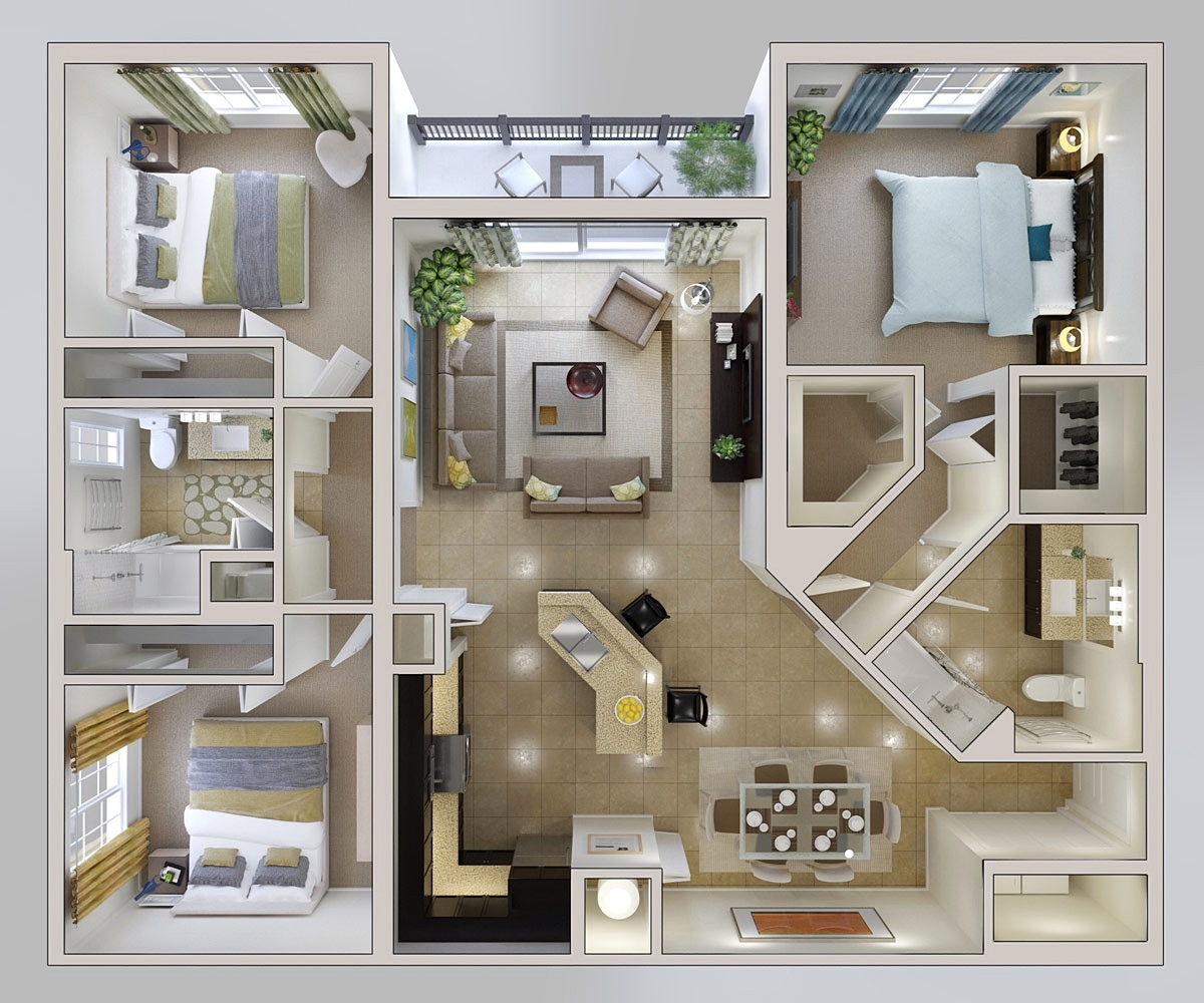 20 Denah Rumah Sederhana 3 Kamar Tidur 3 Dimensi 2018 Dekor Rumah