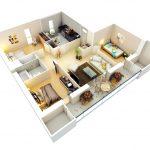 Denah Rumah Sederhana 3 Kamar Tidur Type 36 3d 3dimensi