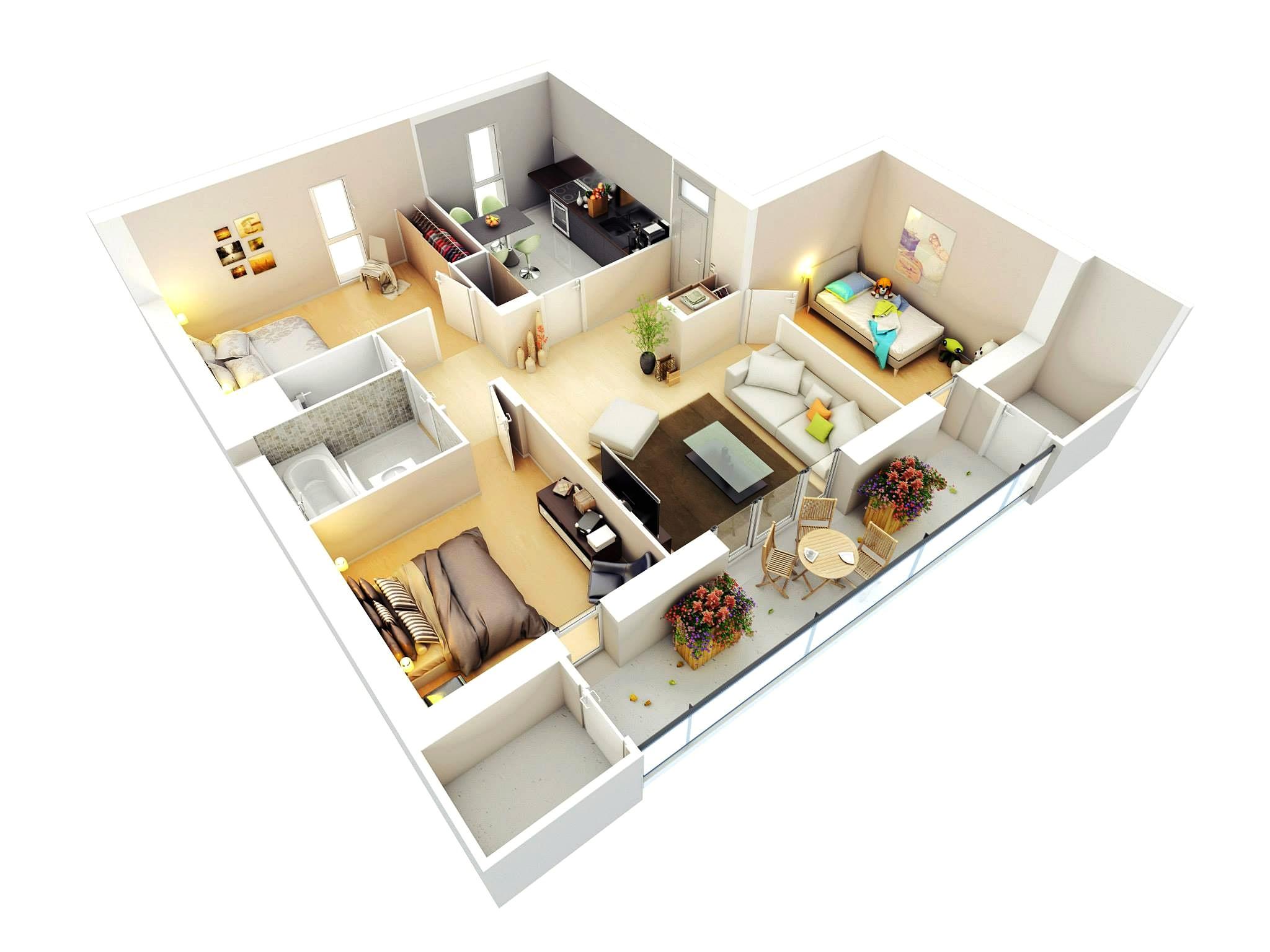 20 denah rumah sederhana 3 kamar tidur 3 dimensi 2019 | dekor rumah