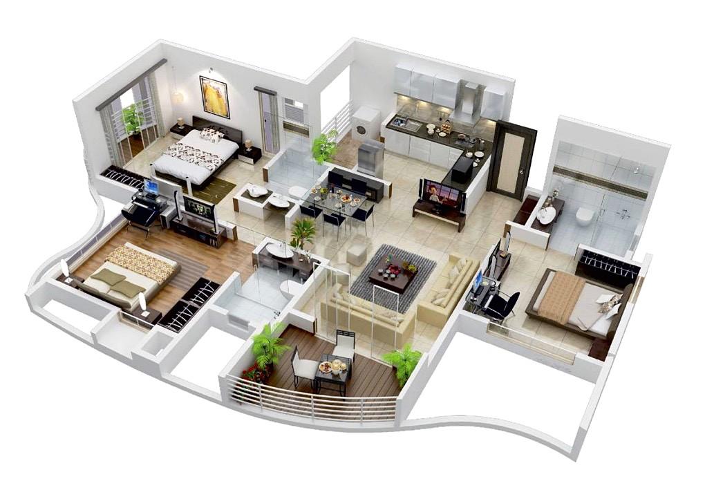 20 denah rumah sederhana 3 kamar tidur 3 dimensi 2018 for Crear mi casa en 3d