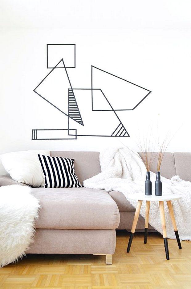 21 ide membuat hiasan dinding buatan sendiri dari selotip terbaru dekor rumah. Black Bedroom Furniture Sets. Home Design Ideas