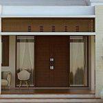 Pintu Rumah Minimalis 2 Pintu Besar Kecil Dengan Jendela Kaca Samping